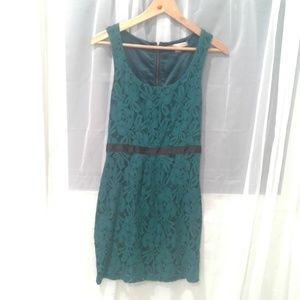 Teal and Black Lace Sheath Dress